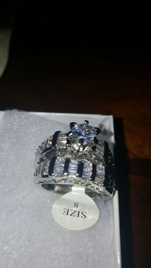 5 carat tw round/baguette CZ wedding set size 8 for Sale in Severn, MD