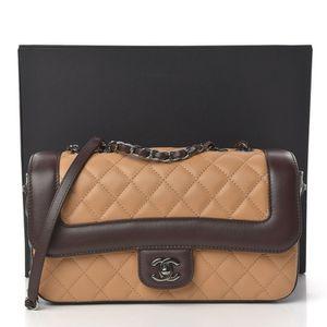 CHANEL Tan Lambskin With Brown Trim & Ruthenium Metal Medium Coco Corset Flap Bag for Sale in Santa Ana, CA