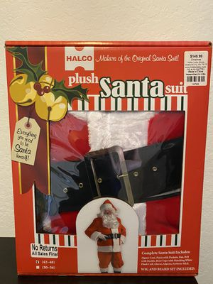 Brand new in box men's large christmas santa suit Halco plush santa suit adult mens halloween costume photography props for Sale in Mission Viejo, CA