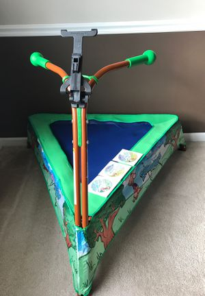 JumpSport iBounce Kid's Trampoline tablet mount and dvd education games ages 2-5 years old pet free and smoke free household for Sale in Williamsburg, VA