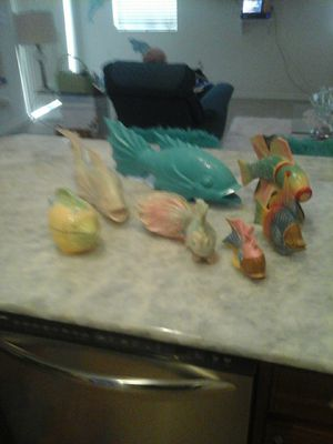 (7) Decorative multi colored Fish ceramic/wooden excellent no cracks for Sale in North Port, FL