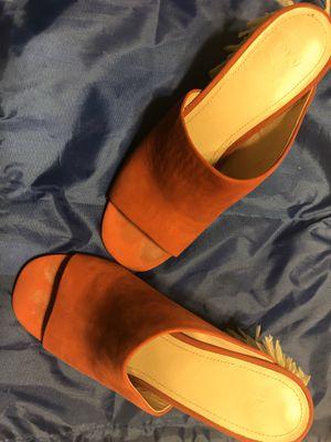 PLV (Pour La Victoire Suede Peep-Toe Mules with Fringe Tassel Heels for Sale in Palos Verdes Estates, CA