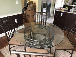"Kitchen Table Set (48"" - Glass top/ 4 chairs) for Sale in Arlington, VA"