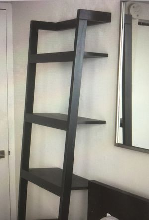 2 black wood sloping bookshelves for Sale in New York, NY