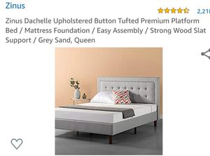 Zinus Dachelle Upholstered Button Tufted Platform Bed Grey Sand Queen for Sale in Canal Winchester, OH