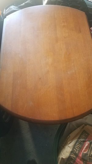 Wooden table with folding side leaf and two chairs for Sale in Philadelphia, PA