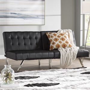 Black Faux Leather Futon for Sale in Smyrna, TN
