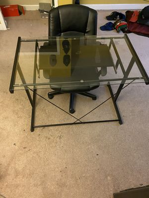Glass computer desk and chair for Sale in Orlando, FL