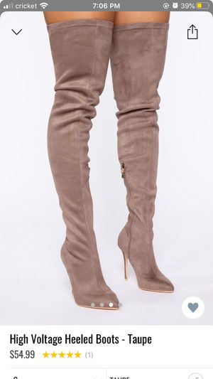 "Fashion Nova ""High voltage"" thigh high heeled boots in taupe Size US 6 in women's for Sale in Sun City, AZ"