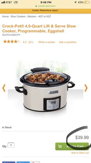 NEW NEVER OPENED CROCK-Pot 4qt Lift & Serve Slow Cooker Programmable - Eggshell SCCPVP400H-PY for Sale in Portland, OR