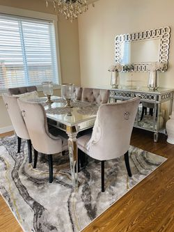 Dining Room Chairs And Mirror Table With Mirror Buffet Table for Sale in Auburn,  WA