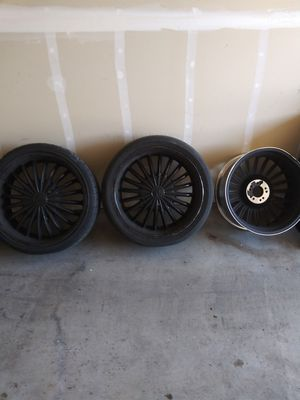 20 inch rims and tires with an extra rim for Sale in Tacoma, WA