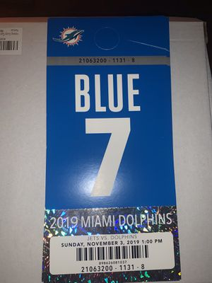 Miami Dolphins vs Buffalo Bills Blue Parking Pass for Sale in Fort Lauderdale, FL