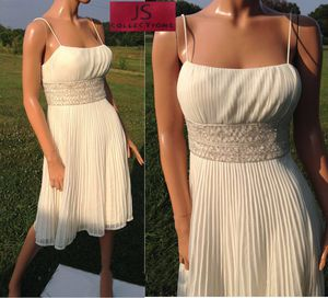 JS COLLECTION Women's Ivory Offwhite Beaded Perma Pleated Fit and Flare Spaghetti Strap Party Dress 6 for Sale in Paris, KY