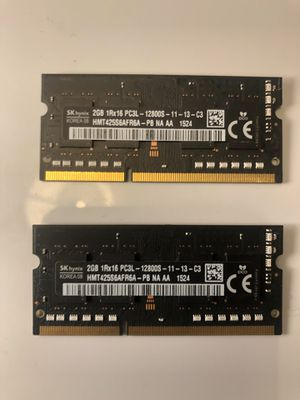 LAPTOP MEMORY - 2 x 2GB (4GB) RAM for Sale in Seattle, WA