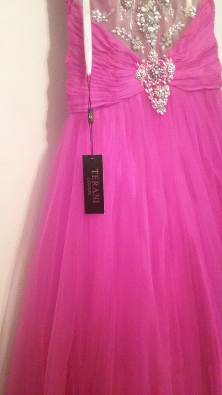 Pink prom dress by Terani Couture
