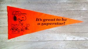 "Vintage 1965 Snoopy Peanuts ""It's Good To Be A Superstar"" Pennant Flag for Sale in Cherryvale, KS"