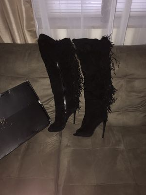 Pee-toe -Tall black suede boots for Sale in St. Louis, MO