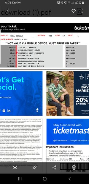 Celine dion Tickets for Sale in Pembroke Pines, FL