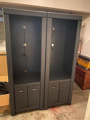 Two armoire cabinets with 3 glass shelves and lower storage for Sale in Riverdale, GA