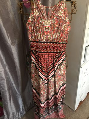 Misses long stretch boho style dress A line keyhole front London Times designer rust and black with white flower pattern size 4 petite new for Sale in Northfield, OH