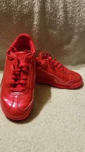 Hot Red Puma tennis shoes children size 12 for Sale in Dallas, TX