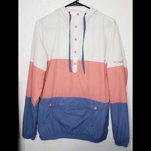 Vintage Columbia Women's Size S Pullover Jacket Blue Pink White Hoodie w/ Pouch for Sale in Miami Gardens, FL