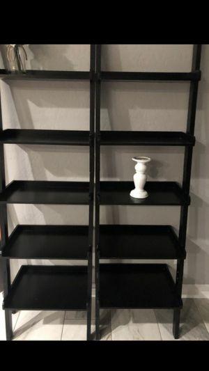 Great quality leaning bookshelves black 2 for Sale in Buckeye, AZ