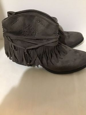 Ladies size 7 1/2 Grey Fringe Ankle High Boots for Sale in Tupelo, MS