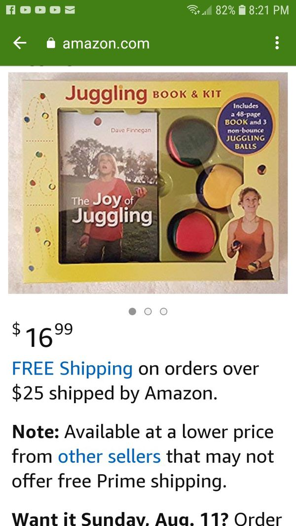 The Joy of Juggling Book and 3 non bouncing juggling balls