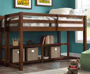 New!! Bed, twin bed, twin loft bed, solid wood twin 2 shelf storage loft bed, storage loft bed. Bedroom furniture, walnut for Sale in Phoenix, AZ