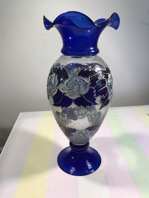 Large blue glass vase for Sale in Los Angeles, CA