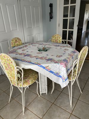 Vintage wrought iron table & padded chairs for Sale in Lakeland, FL