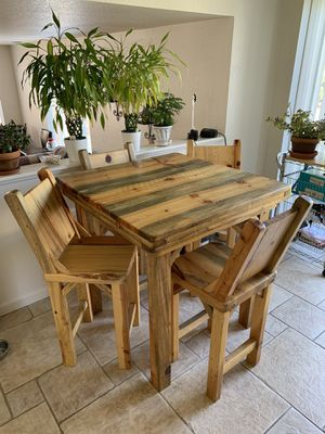Handcrafted Beetle Kill Pine High Table & Chairs for Sale in Longmont, CO