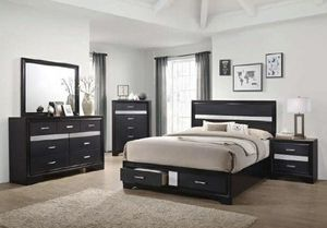 New 4pc queen size bedroom set with storage tax included free delivery for Sale in Hayward, CA