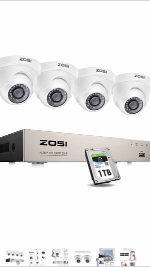 ZOSI Security Cameras System with 1TB Hard Drive,H.265+ 5MP Lite 8Channel HD-TVI DVR Recorder and 4pcs 1080P HD 1920TVL Indoor Outdoor Surveillance C for Sale in Miami Shores, FL