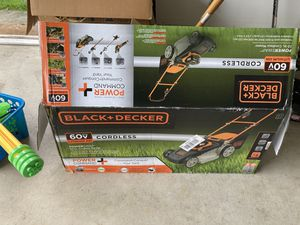 Black decker lawn mower bran new and same brand blower and trimmer for sale for Sale in Crosswicks, NJ