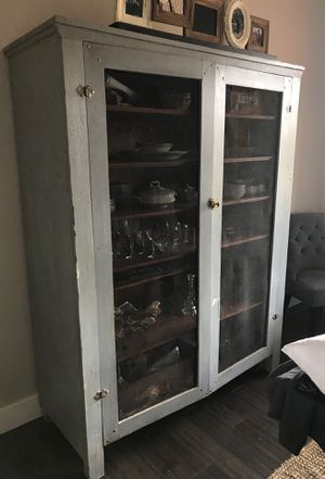 Authentic Antique Hutch- wire front and brass closure for Sale in Oregon City, OR