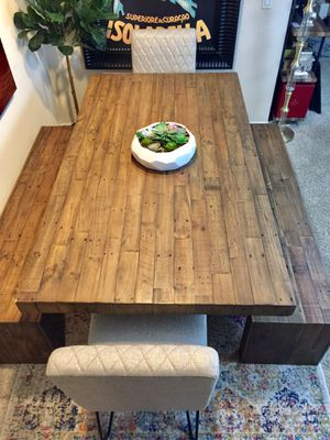 Reclaimed wood dining table with 2 Matching Benches + 2 chairs for Sale in San Diego, CA