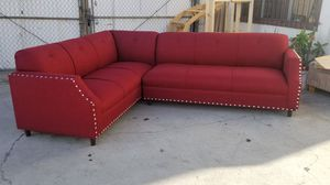 Custom made Seccional sofa/sofa soft seating color wine & black color available soft seating cushon silver nail heads for Sale in Las Vegas, NV