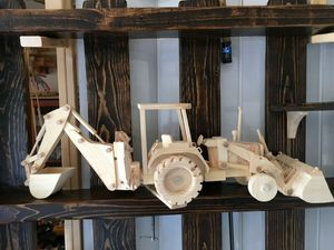 Toy John Deere backhoe loader built by local artist very detailed cylinders work both buckets like the real tractor a must see runs great for Sale in Mesa, AZ