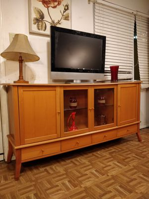 Nice wooden buffet/ TV stand for big TVs with 4 drawers, cabinets and glass shelves in very good condition, all drawers working well. for Sale in Annandale, VA