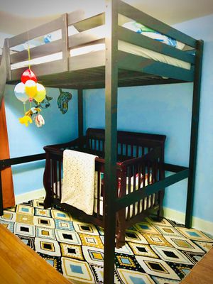 Ikea loft bed with clean newer mattress also included for Sale in Columbia, MO