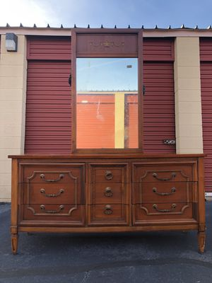Solid Wood 9 Drawer Long Dresser With Mirror Price is Firm for Sale in Woodbridge, VA