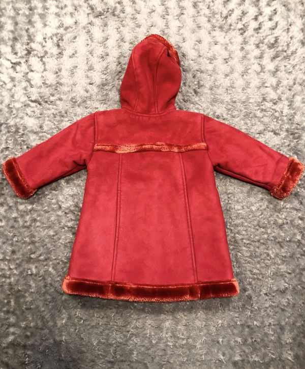 Baby girl GAP hooded red coat paid $65 size 18-24M Perfect condition Sooo beautiful!! Suede feel, faux fur trim & very cosy!