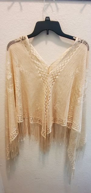 Shawl Gold Thread Fringe Knit Poncho Shimmer for Sale in Round Rock, TX
