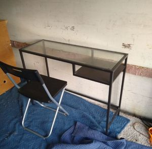 Small desk with glass top and chair for Sale in Bonita, CA