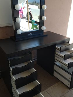 Ikea Desk Table Vanity With Alex Drawers And Vanity Mirror 47X23X29H for Sale in Baldwin Park,  CA