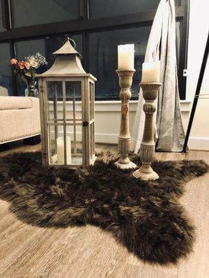 Lantern Candle Set & Faux Fur Rug for Sale in Arlington, VA