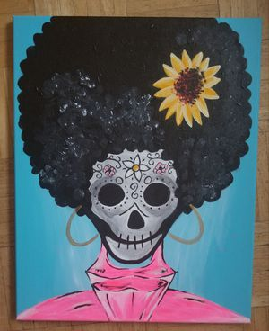 Sunflower skull original painting 16×20 for Sale in Downey, CA